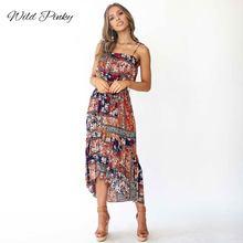 WildPinky Sexy Backless Print Boho Dress Women 2019 Summer Holiday Strap Midi Elegant High Waist Beach Vestidos