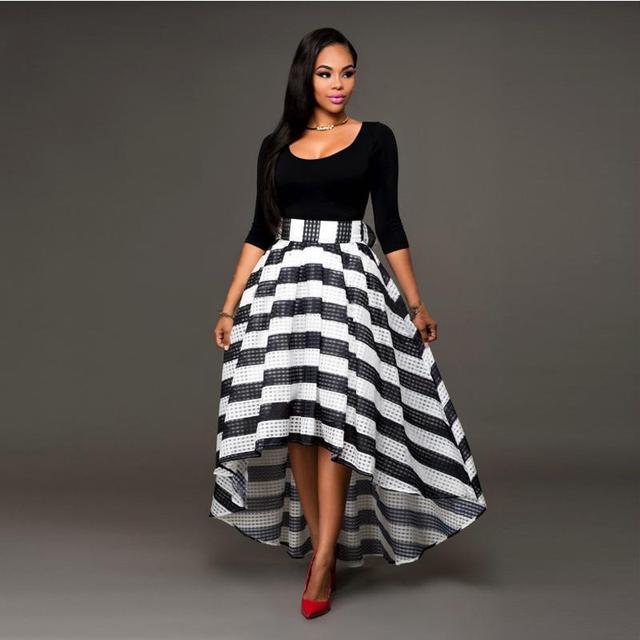 Fashion Dress Two-piece Suit O Neck Sexy Black Top Long Skirt Irregular Ham Three Quarter Sleeve Stripe Black