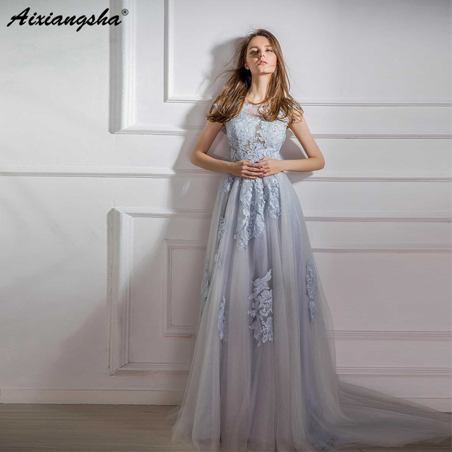 2019 robe de soiree Cap Sleeve Embroidery Formal Dress Women Elegant Light Blue  Tulle Backless Prom f0dd235a4e8a