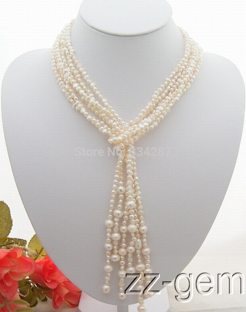 long 3Strds 50'' White Pearl Necklace