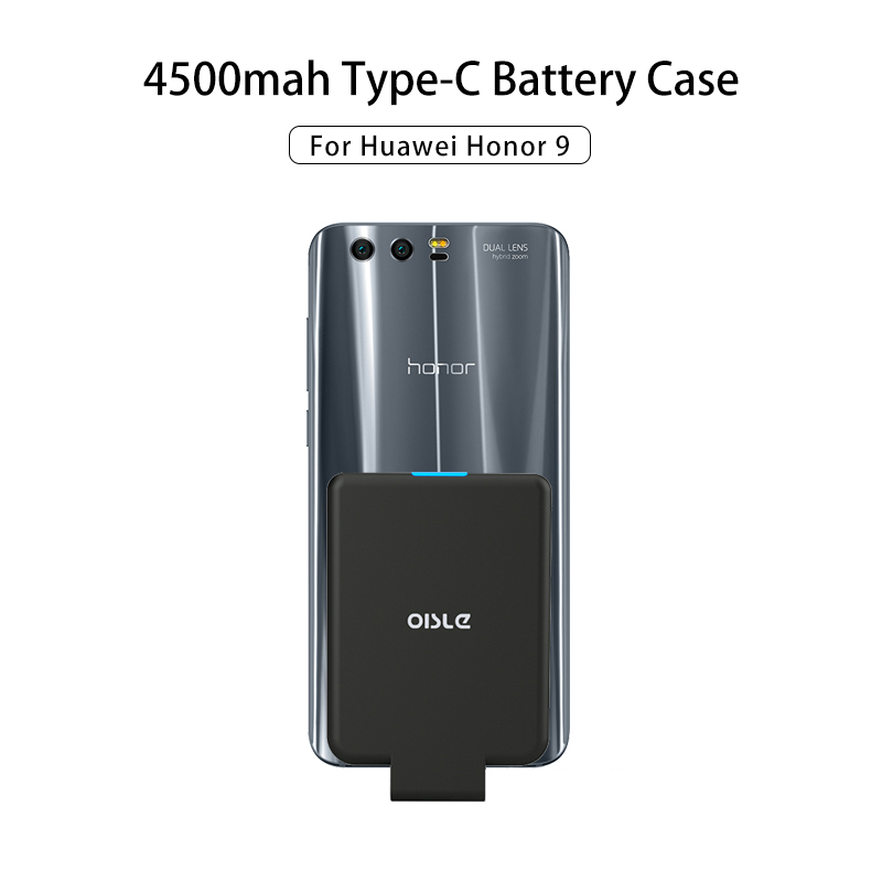 OISLE 4500mAh Type-C Battery Case For Honor 9 10 Lite V20 Power Bank Case For Huawei Play/V10/Note 10 Mini Portable fast Charger