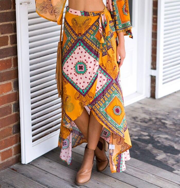 Artfeel 2018 New Print Bohemia Holiday Style Swallowtail Skirt Women Boho Asymmetrical Summer Beach Golden Wrap Tie Long Skirts