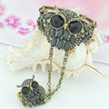 Retro Owl Bangle Hand Chain With Attached Ring In One Sets Women Antique Bronze Plated Bracelet