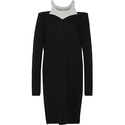 sweater dress knitted dress 100% wool grey black oversized off the shoulder 2017 spring autumn new high quality runway fashion