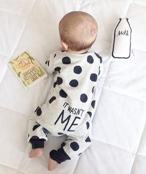 2020 Hot sprzedaży moda Baby Boy dziewczyna ubrania noworodka maluch z długimi rękawami Dot kombinezon odzież dla niemowląt zestaw strojów tanie i dobre opinie EGHUNOOY COTTON O-neck Zestawy Przycisk zadaszone Pełna REGULAR Pasuje prawda na wymiar weź swój normalny rozmiar Czesankowej