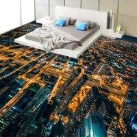 Бесплатная доставка на заказ HD шумный Городской Ночной вид 3D самоклеющиеся этаж росписи торговый центр коридоре росписи обоев