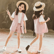 Teenage Girl Clothing Set Summer Pink Jacket Shorts Tracksuit 3pcs School Uniform Suit Girls Clothes Children Outfits 8 10 Years teenage girls clothing set kids tracksuit for girls fashion suit school uniform plaid girls clothes spring 3pcs children clothes