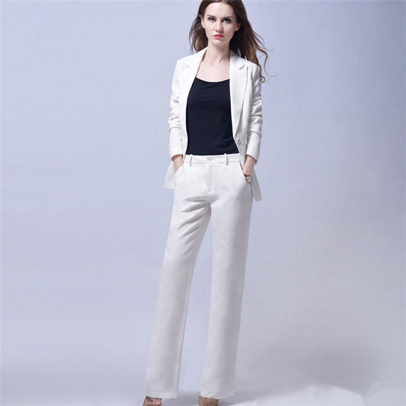 Pants suit White Women Business Suits Blazer Female Office Uniform 2 Piece Trouser Suit Ladies Winter Formal Suits Custom Made