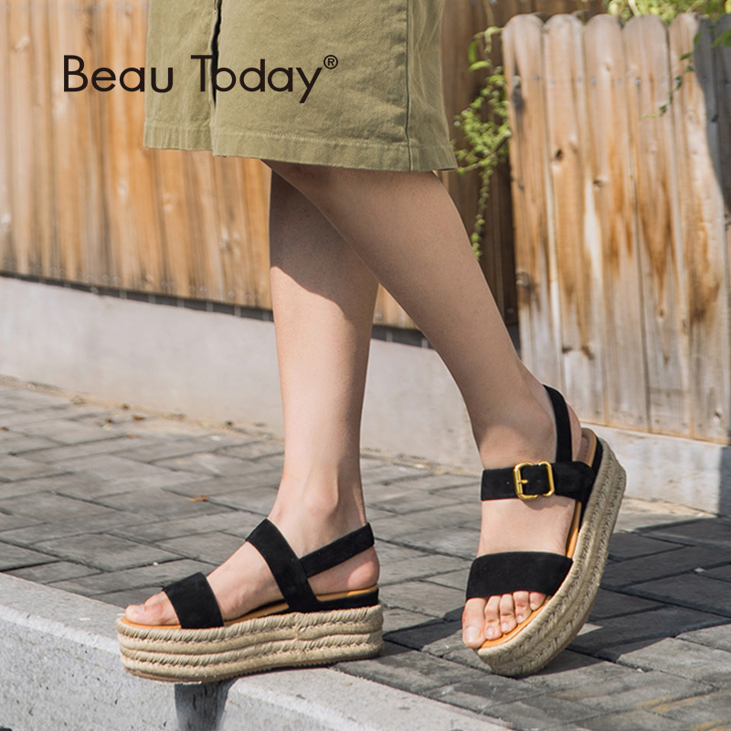 BeauToday Women Summer Sandals Kid Suede Genuine Leather Rope Sole Buckle Strap Ladies Shoes Top Quality
