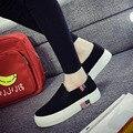 Mocassins Plataforma das Mulheres Sapatos Flats Mulher Feminino Lace-Up Dedo Do Pé Redondo Slip-On Canvas Casual Solas De Borracha Sapatos de Superstar QX-S04