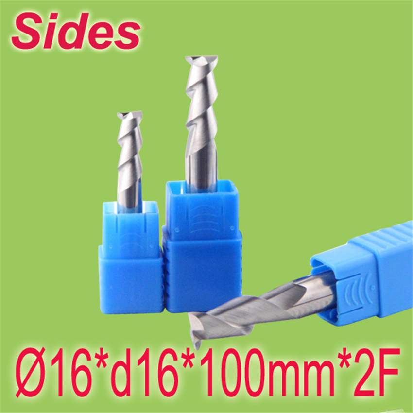 Free Shipping  16*d16*100mm*2F 10mm Aluminum 2F Square Flat Spiral Flute Endmill Cutter Working on CNC Milling Machine