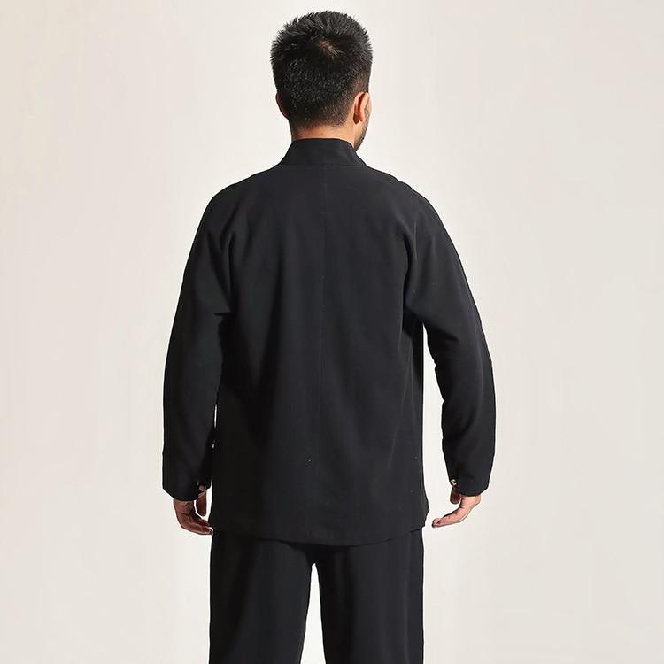 Cinza de alta Qualidade de Algodão dos homens Chineses Kung Fu Wu Shu Terno Cor Sólida Define Camisa & Pant Uniforme S M L XL XXL XXXL - 4