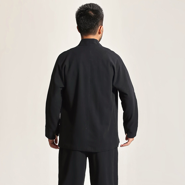High Quality Gray Chinese Men's Cotton Kung Fu Suit Solid Color Wu Shu Sets Shirt&Pant Uniform S M L XL XXL XXXL - 4