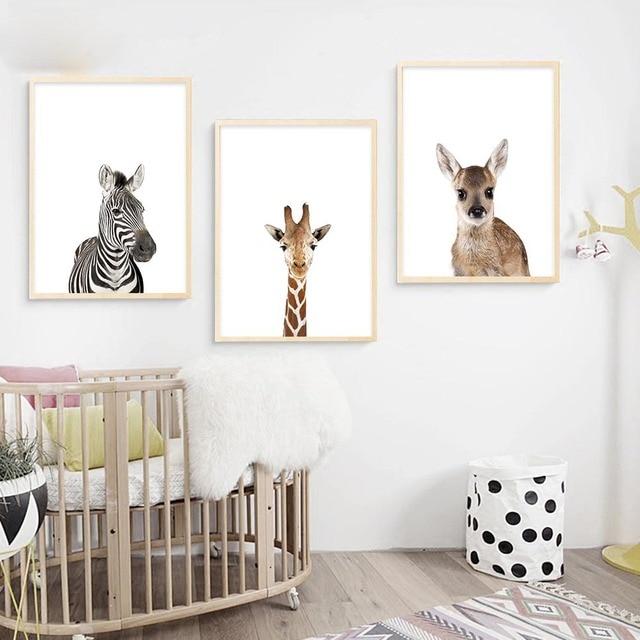 Art Canvas Poster Baby Dier Zebra Girafe Herten Muur Nordic Nursery ...