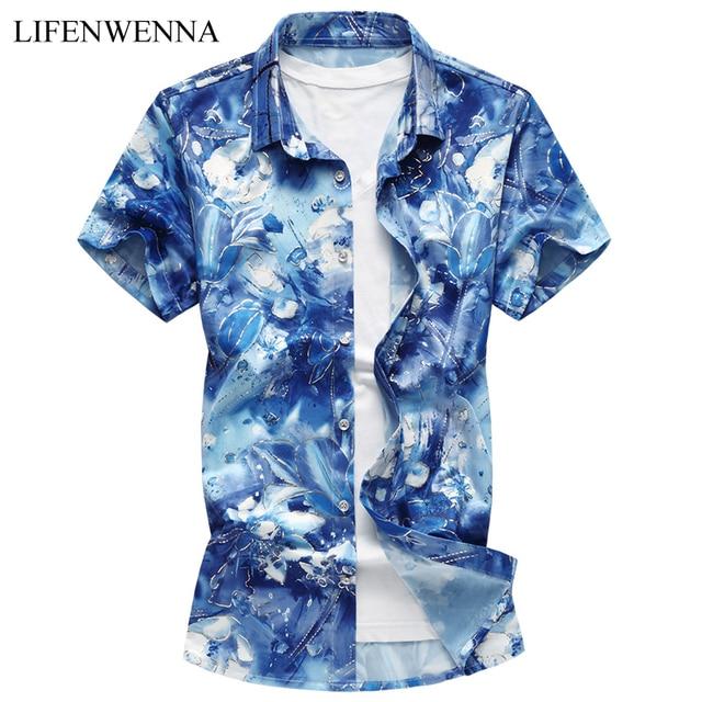 ed03e0c4c9b5 2018 New Summer Men s Shirt Fashion Flower Print Slim Fit Short Sleeve  Shirt Mens Clothes Plus Size Mens Casual Shirts M-7XL