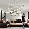 Candelabro Levou moderna Iluminação Para Sala de estar da Sala de Jantar de Alumínio Corpo 1/2/3 Anéis Círculo de Acrílico Pendurado lâmpada Lustre Avize