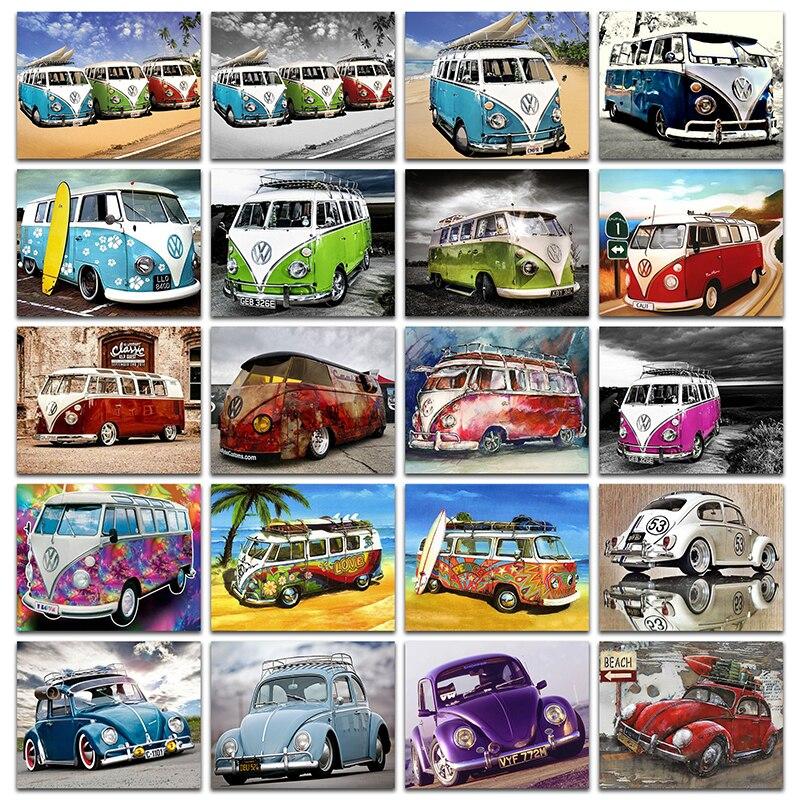 5D DIY Diamante pittura a punto Croce auto VW set Completo piazza Diamante ricamo Antico bus Pieno Diamante Rotondo mosaico di colore autos