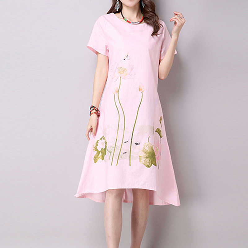 0a4fd662eb9e0 ... White Pink Lotus Flower Linen Dress Big Size Loose Summer Short Sleeve  Simple Shirt Dresses Casual ...