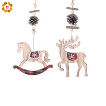 1PC Christmas Horse/Deer Pendants Wooden Xmas Ornaments with Pine Cone Wood Material Tree DIY Decor Supplies