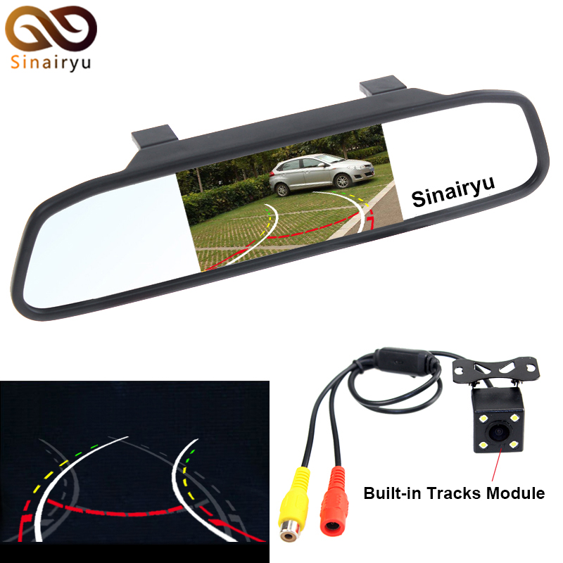 Sinairyu HD CCD Intelligent Car Parking Camera With Backing Trajectory Rear Camera+4.3 Inch Car Rearview Mirror Parking Monitor
