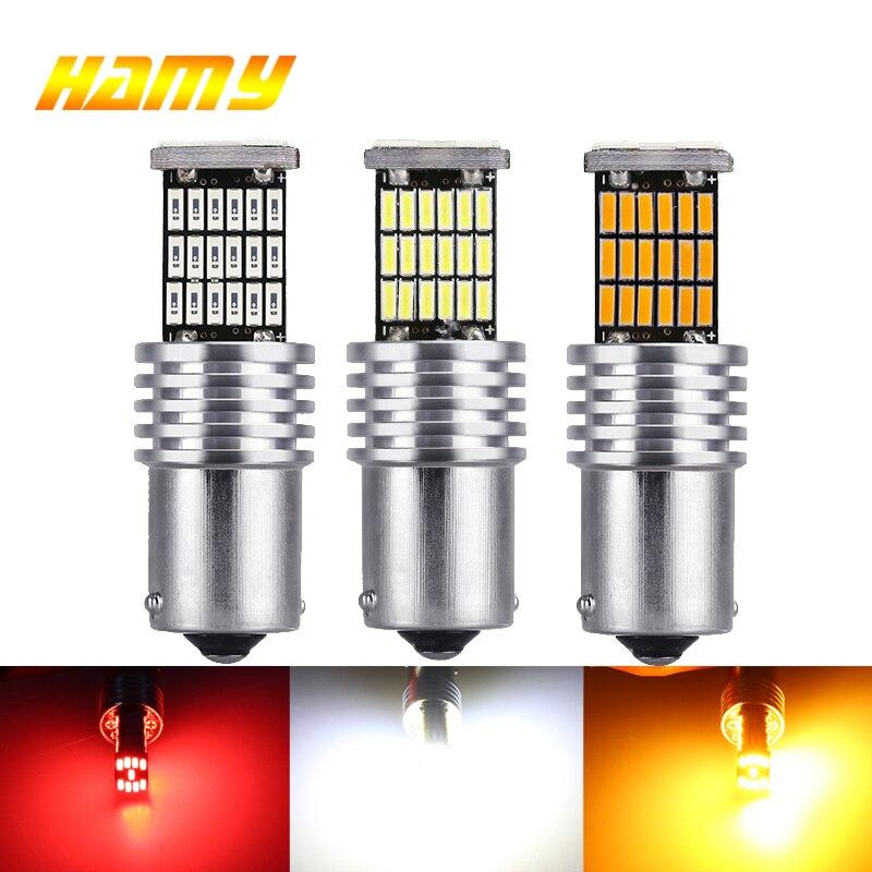 2x P21W PY21W ampoule LED Trun Signal Lumineux 12V Ba15s 1156 Bay15d 1157 LED Canbus Frein Inverse Lampe 4014 45SMD Blanc Jaune Rouge