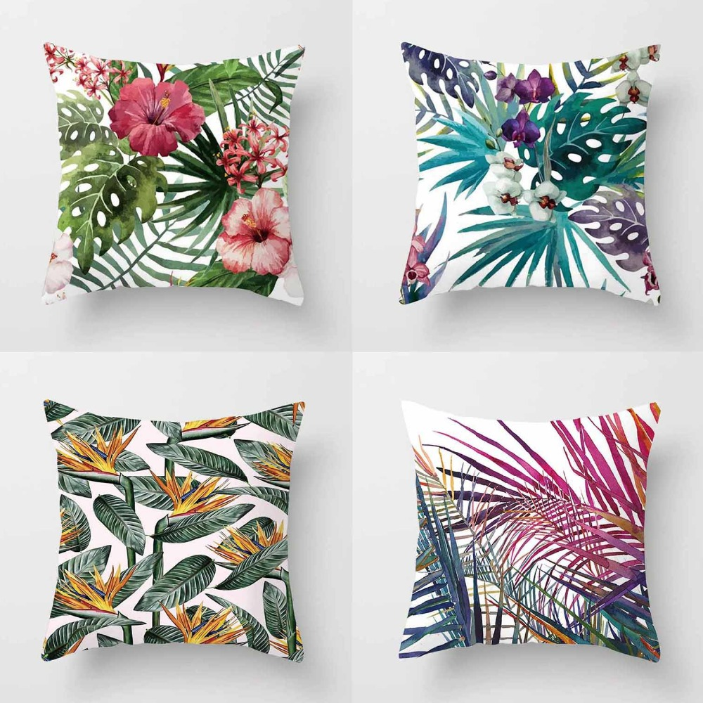 Tropical Plants Cushion Cover Polyester Green Leaves