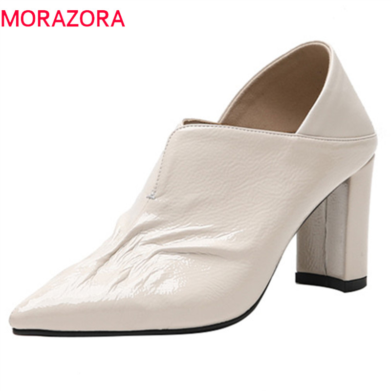 MORAZORA 2019 hot sale women pumps solid colors spring summer office ladies shoes pointed toe high