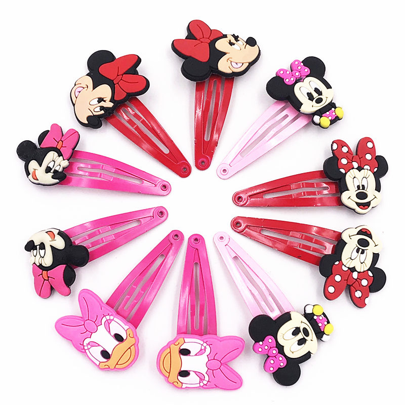 10pcs Mickey Minnie Bow Tie Wave Point Donald Duck Pvc Cartoon Hairpins Girls Hair Accessories Barrette Hair Clips Hairwear