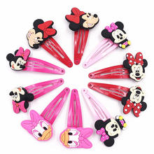 10PCS Mickey Minnie Bow tie Wave point Donald Duck PVC Cartoon Hairpins Girls Hair accessories Barrette Hair Clips Hairwear(China)