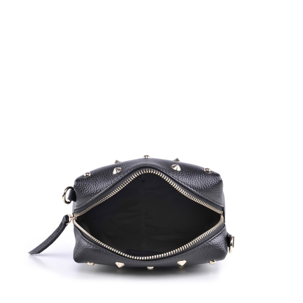 Genuine Real Leather Studded Crossbody Chain Bag Women S Vintage Small Black Rivet Spike Stud Shoulder Purse Handbag In Top Handle Bags From