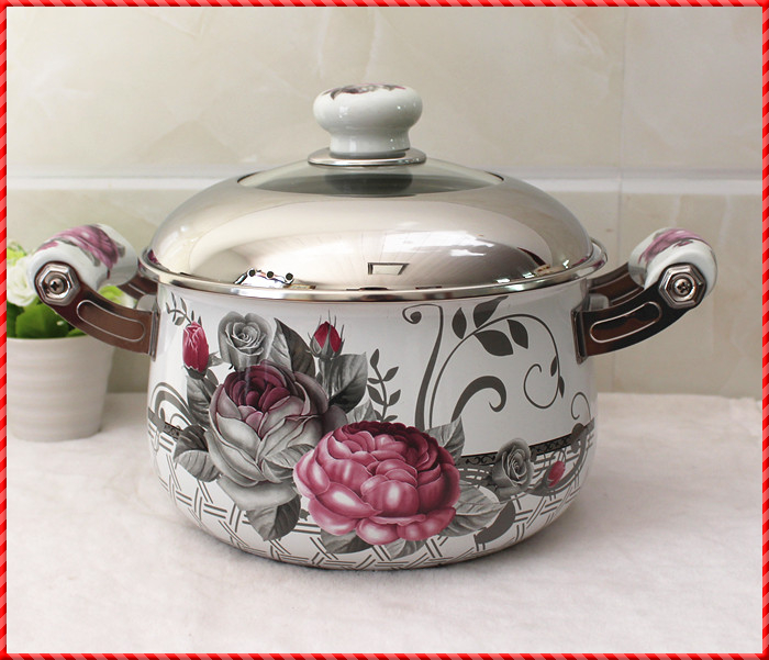 Thickened porcelain enamel pot stew pan stainless steel cover electromagnetic oven gas universal