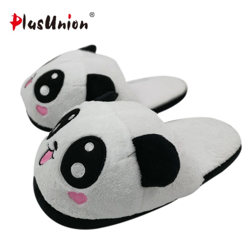 indoor winter panda slippers flat furry home cartoon animal with fur shoes fuzzy house women emoji plush anime unisex cosplay indoor cartoon cute plush unicorn slippers for women adult warm animal shoes furry fluffy unicornio shoe house winter home anime