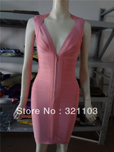 Free shipping pink bandage dress tight fitting slim fitted dress ladies pink dress DM184