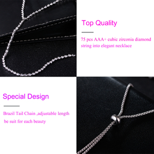 Image 5 - 2017 New Fashion CZ Long Necklace Women Luxury White Gold Color Crystal Statement Necklaces & Pendants For Party AN059
