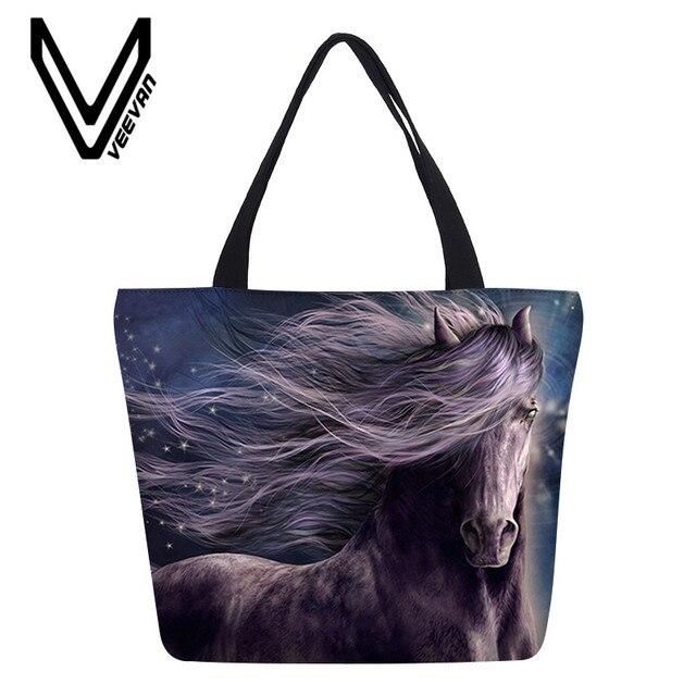 Veevanv Crazy Horse Women Luxury Handbags Cool Animal Large Capacity Tote Beach Bag For