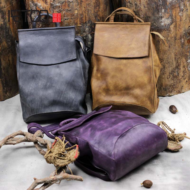 AETOO Womens leather backpack vintage large travel backpack genuine leather cowhide