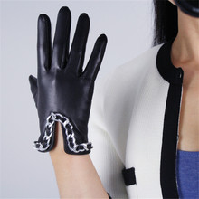 Touch Screen Gloves Genuine Leather Pure Imported Goatskin Black Female Silver Metal Chain Womans Touchscreen Mittens TB91-9