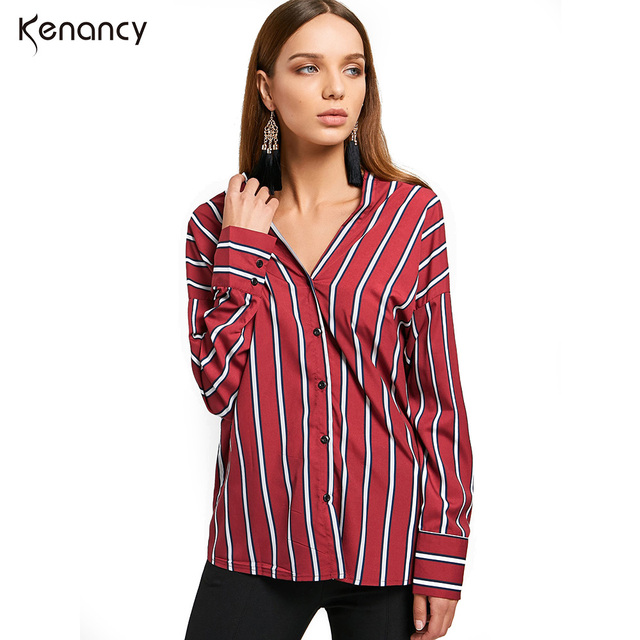 5ec9a6e8279a9f Kenancy Fall 2017 Fashion New Button Up Red Stripes Blouse Loose Casual  Shirt V Neck Long Sleeve Women Tops Autumn