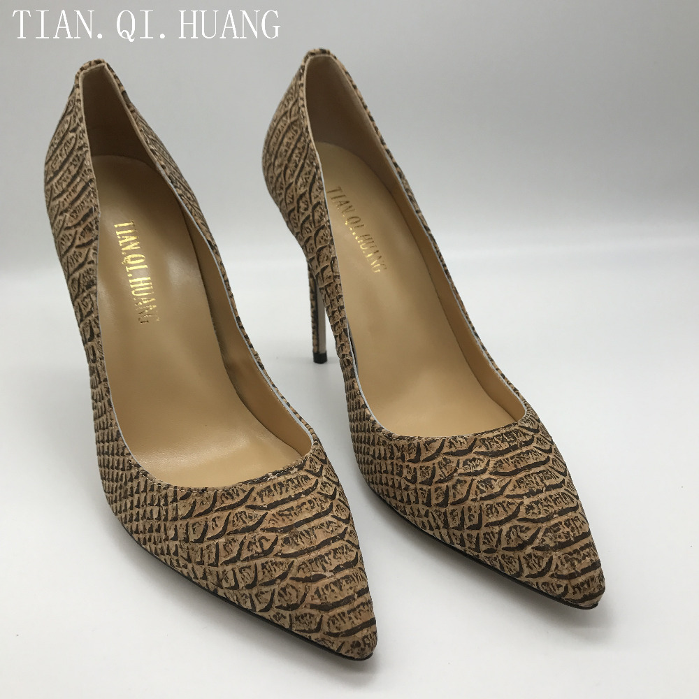 Hot Sales Women Pumps Fashion Design Sexy Casual High Heels Shoes High Quality Genuine leather Shoes Woman TIAN.QI.HUANG 2