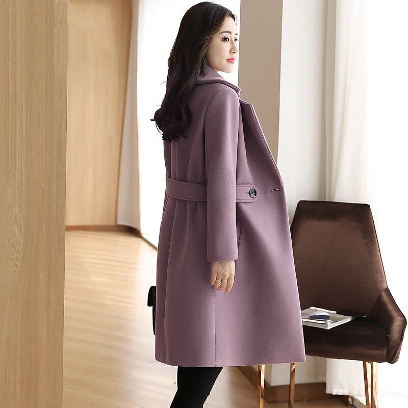 Solid Color Large Size Medium Long Women's Woolen Coat 2019 New Casual Long Sleeve High Quality Winter Women Woolen Coat NUW105