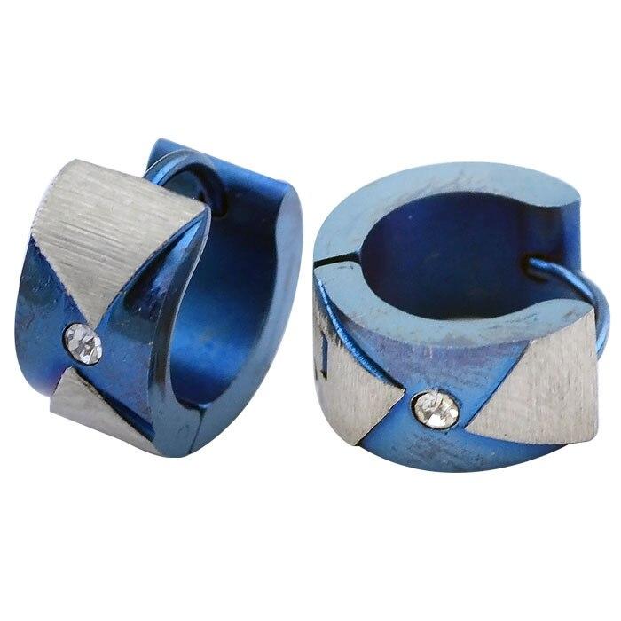 stainless steel fashion jewelry crystal jewelry blue clip earrings hot piercing body 7mm 9mm
