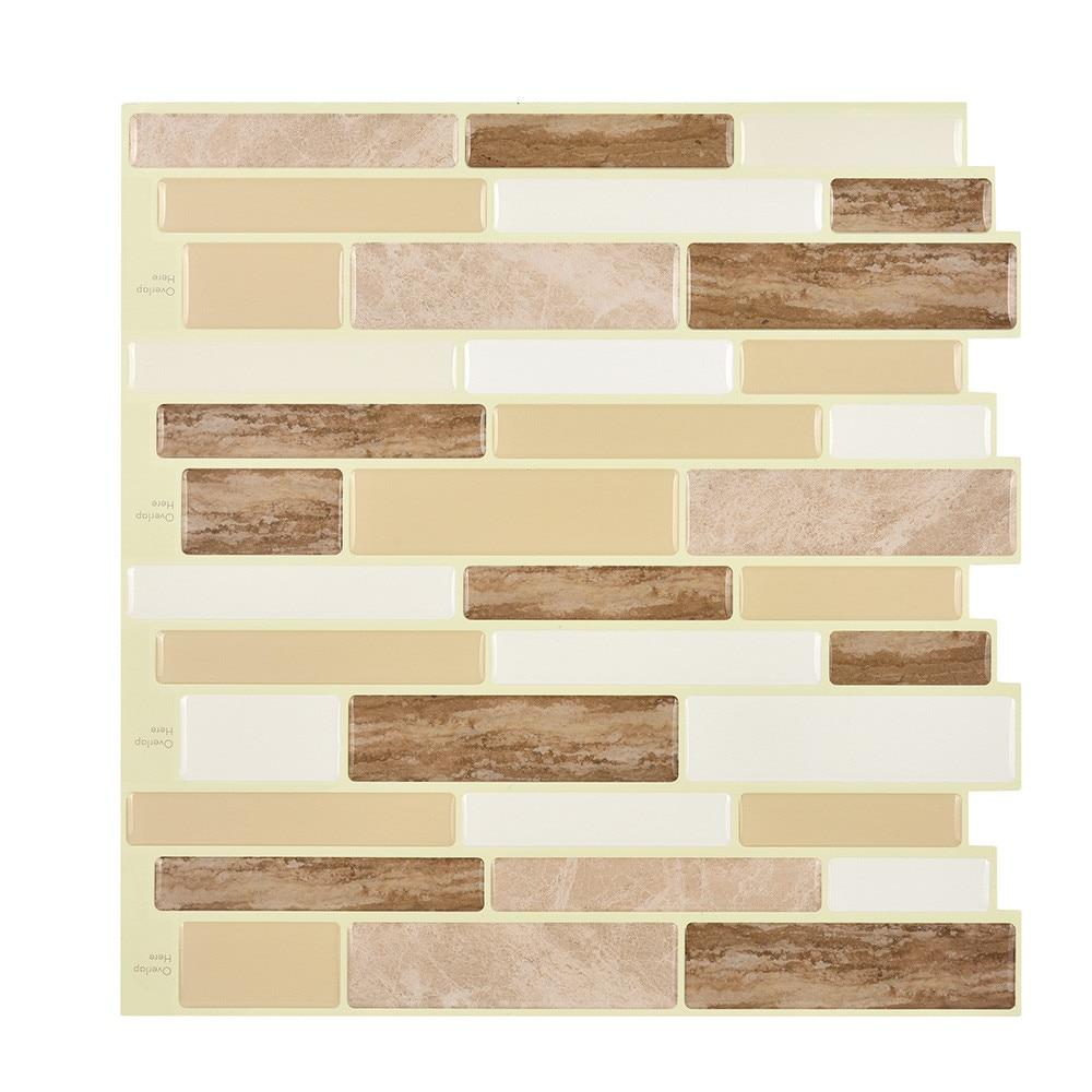 PET 3D DIY Wall Decor Embossed Brick Stone Tiles Anti mold Peel and ...
