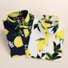 Dioufond Cotton Women Blouse Long Sleeve Printed Flowers Shirts Casual Floral Blusas Femininas Casual Summer Ladies Tops