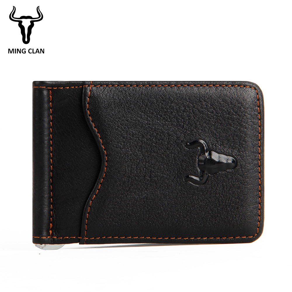 Mens Money Clip Wallet Genuine Leather Money Clips Super Thin Cash Holder Front Pocket Men's Wallet with Clip Card And Wallets retro brown genuine leather men money clips multifunctional dollar money holder designer new mens money clip