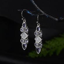 New Arrival Women Bohemia Dangle Earrings Purple Cyrstal Ethnic Vintage Indian Jewelry  Female Silver