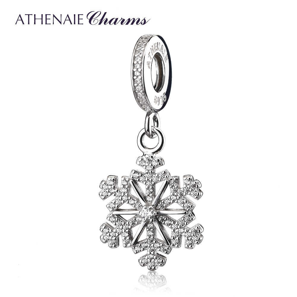 ATHENAIE 925 Sterling Silver Pave Clear CZ Frozen Snowflake Pendant Drops Charm Fit European Charms Bracelets Gift for Women