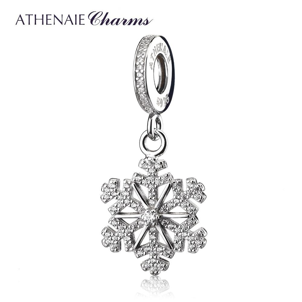 ATHENAIE 925 Sterling Silver Pave Clear CZ Frozen Snowflake Pendant Drops Charm Fit European Charms Bracelets Gift for Women