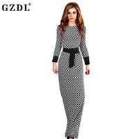 Spring Autumn Dress Womens Lady Long Sleeve High Waist Plaid Check Peplum A Line Evening Party