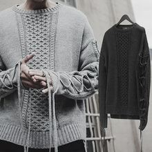 New Autumn Winter Fashion Men Sweater Pullovers Thick Warm Lace-up Sleeves Casual Knitted Knitwear FS99