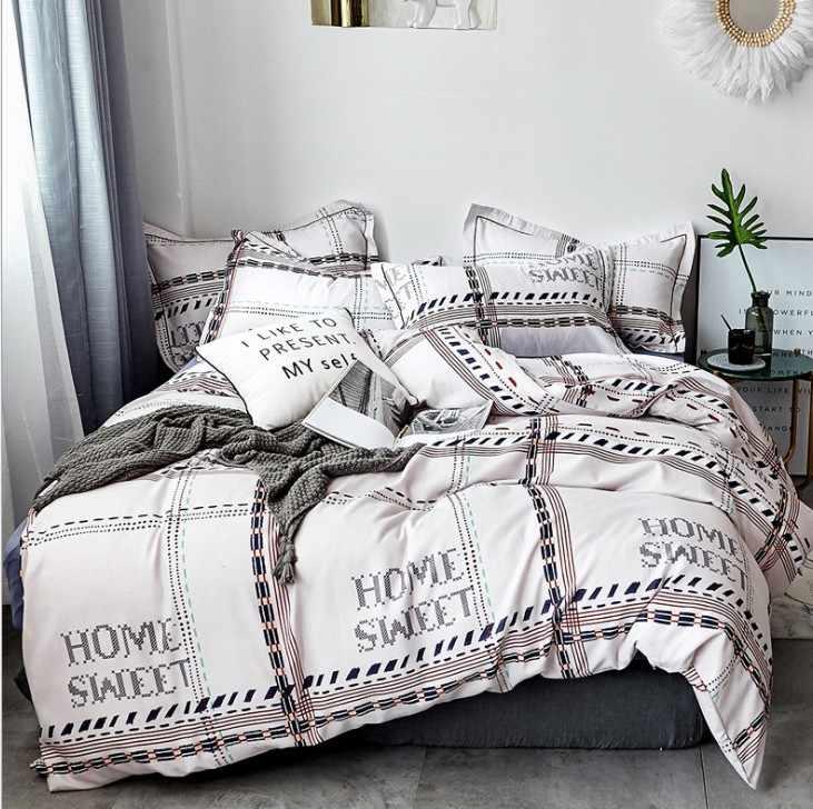 NIOBOMO 綿牧歌花漫画のスタイルのファッション寝具ベッドリネンベッドシート布団カバー枕カバー 4 ピース寝具セット/ 女王